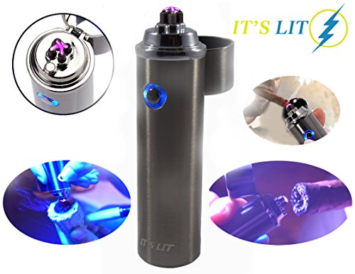 Triple Plasma Lighter- Electric Triple Arc Lighter- New Flat Surface Wide Arc Design For Pipes Cigars and More -Windproof Electric Lighter- USB Rechargeable- Cable, Gift Box and Warranty Card Included
