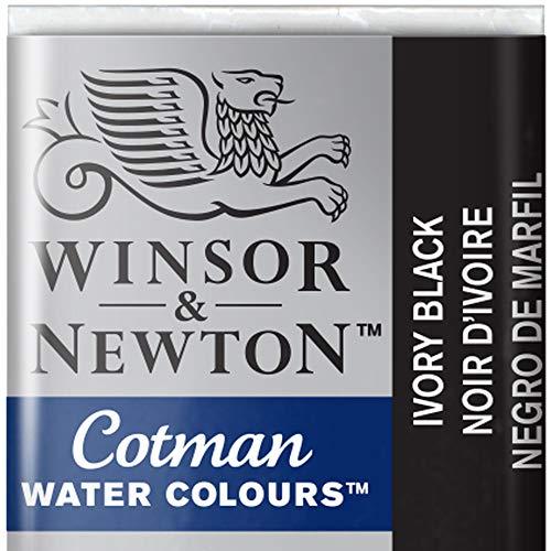 Cotman Winsor & Newton Watercolour Paint Half Pan - Ivory Black 331