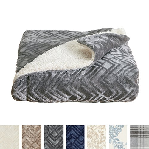 (Home Fashion Designs Premium Reversible Berber and Sculpted Velvet Plush Luxury Blanket. High-End, Soft, Warm Sherpa Bed Blanket Brand. (King, Pewter))