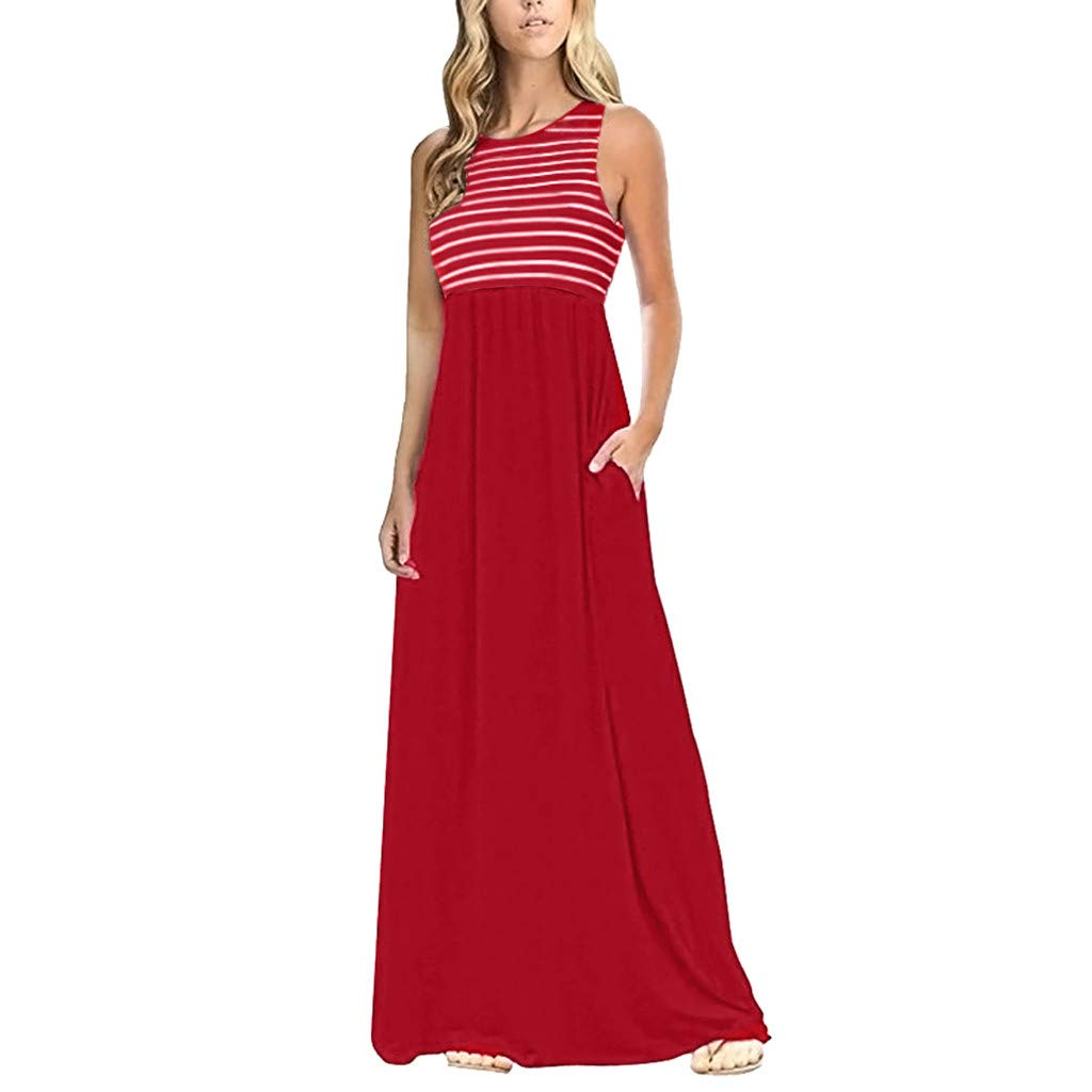 IEasⓄn Women's Striped Sleeveless Floral Tank Maxi Dress Casual Long Dress Boho Dress with Pocket Red