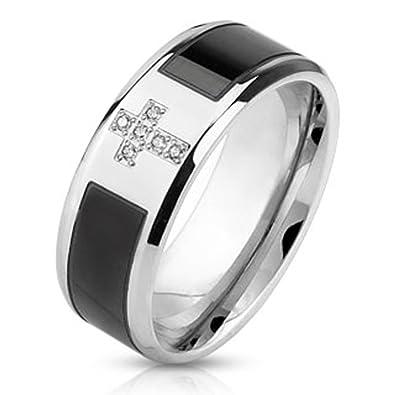 T2 Mens Christian Cross Wedding Band Stainless Steel Husband