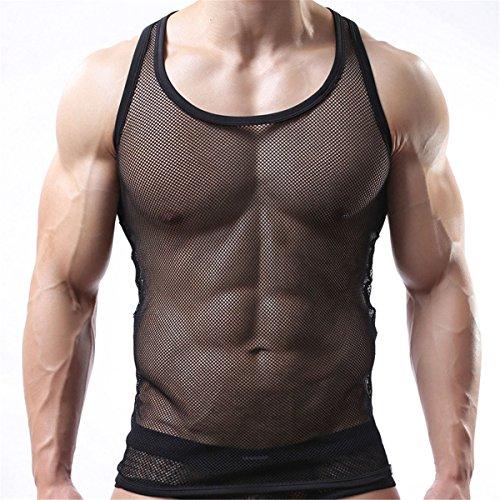 Sexy Men's Underwear Sleeveless Vest Tank Top Mesh Fishnet Undershirt(Black M)