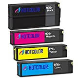 HOTCOLOR 4 Pack Remanufactured Ink Cartridges for HP 976Y Extra High Yield , L0R08A Black & L0R05A Cyan & L0R06A Magenta & L0R07A Yellow