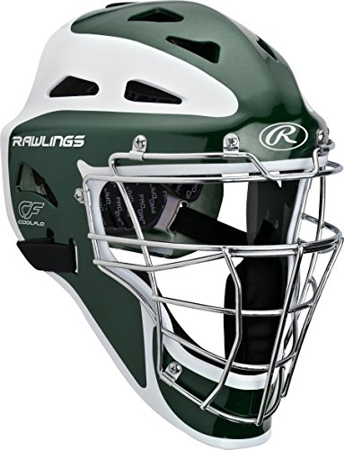 Rawlings  Youth Pro Preferred Hockey Style Catcher's Helmet, Matte Dark Green, 6 1/2 - 7