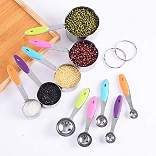 Stainless Steel Measuring Cups and Spoons Stackable Set Measuring Set for Cooking and Bakin 10pcs with Non-slip handle