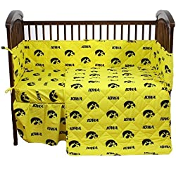 "Iowa Hawkeyes 5 Piece Crib Set and Set of Two (2) Matching Window Valance/Drape Sets (Drape Length 84"") - Entire Set includes: (1) Reversible Comforter, (1) Bed Skirt , (2) Fitted Sheets, (1) Bumper Pad and (2) Matching Window Valance/Drape Sets to Decorate Two Windows - Drape Length 84"" - Decorate Your Nursery and Save Big By Bundling!"