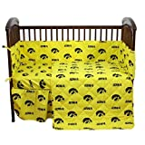 Iowa Hawkeyes - 5 Piece Crib Set - Entire Set includes: (1) Reversible Comforter, (1) Bed Skirt , (2) Fitted Sheets and (1) Bumper Pad - Decorate Your Nursery and Save Big By Bundling!