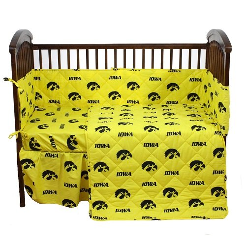Iowa Hawkeyes 5 Piece Crib Set and Matching Window Curtain Valance - Entire Set includes: (1) Reversible Comforter, (1) Bed Skirt , (2) Fitted Sheets, (1) Bumper Pad and (1) ()