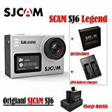 SJCAM SJ6 Legend 2' Touch Screen Remote Action Helmet Sports DV Camera Waterproof 4K 24FPS NTK96660 RAW w/Front Screen+1pcs Extra Battery+1pcs double battery charger(Sliver) Action Cameras SJCAM