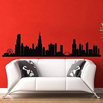 Beautiful Chicago Skyline City Silhouette Wall Vinyl Decal Sticker Home Decor Art  Mural Z386 Part 22