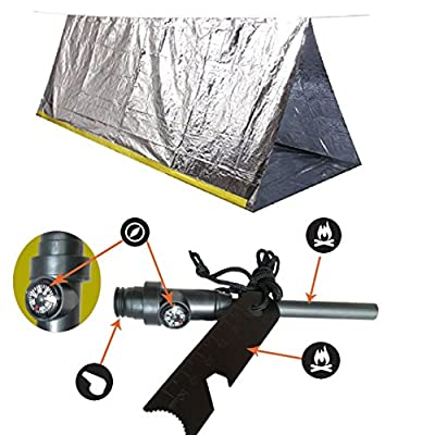 Emergency Mylar Tent & Magnesium Fire Starter Kit | 8' X 5' Thermal Survival Shelter Tube Tent | Conserves Heat | Best Survival Gear