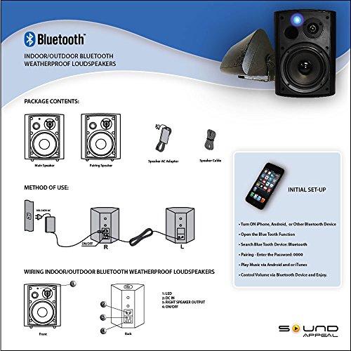 Bluetooth 6.50'' Indoor/Outdoor Weatherproof Patio Speakers, Wireless Outdoor Speakers (Black- pair),by Sound Appeal by Sound Appeal (Image #6)
