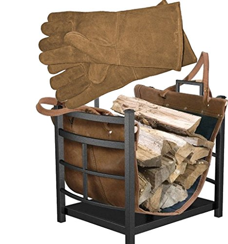 Bundle Includes 2 Items - Panacea Products 15245 Mission Log Bin with Leather Carrier for Fireplace and Panacea 15331 Fireplace Hearth (Mission Log)