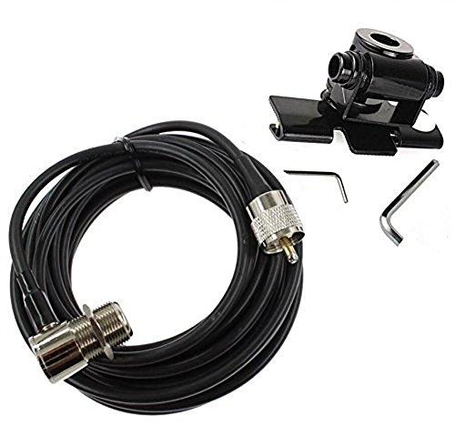 Support de fixation pour antenne radio et radio bidirectionnelle de voiture, de marque Buwico® , en acier inoxydable, pour hayon ou coffre, avec 5 m de câ ble d' antenne CAR-MOUNT-CABLE