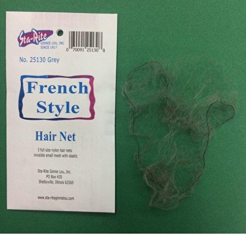 Sta-Rite Nylon Hair Nets 3 Ct. ( Gray ) Made In USA