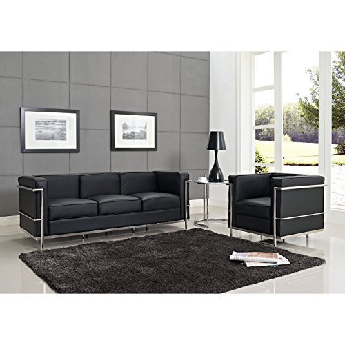 Modway Le Corbusier Style LC2 Armchair and Sofa in Genuine Black Leather with Eileen Gray Side Table