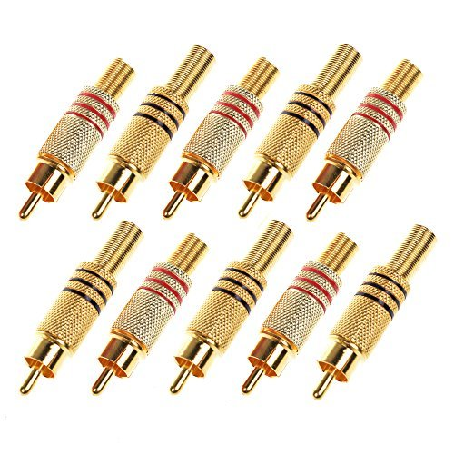 Rca Male Plug (BCP Pack of 10pcs RCA Male Plug w/ Spring Adapter, Gold Plated)