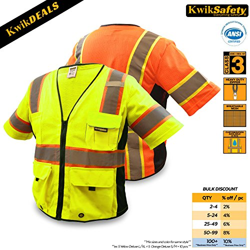 KwikSafety CLEARANCE | EXECUTIVE Class 3 Safety Vest | 360° Hi Vis Reflective ANSI Compliant Work Wear | Hi Vis Breathable Mesh Multiple Pockets | Men & Women Regular to Oversized Fit | Yellow 2XL/3XL