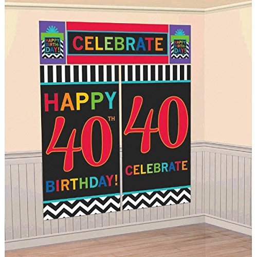 (Amscan Must-Have Chevron and Stripes 40th Birthday Party Scene Setters Wall Decorating Kit (Pack of 5), Multicolor, 10.2