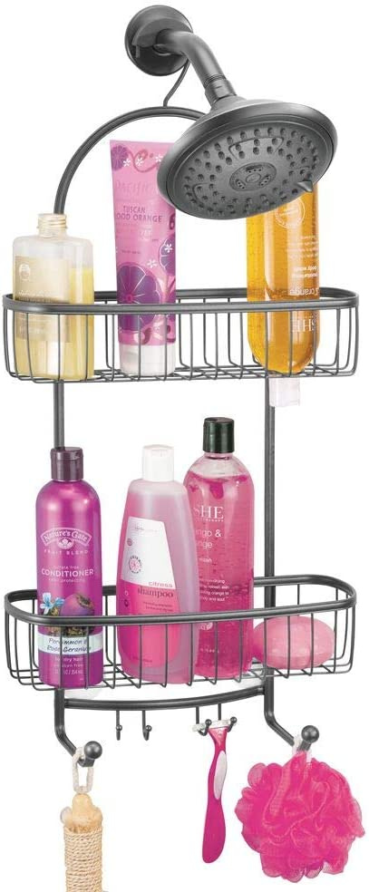 mDesign Vintage Metal Wire Bathroom Tub /& Shower Caddy White Hanging Storage Organizer Center with 2 Wash Cloth Hooks and Baskets for Bathroom Shower Stalls Bathtubs Rust Resistant Steel