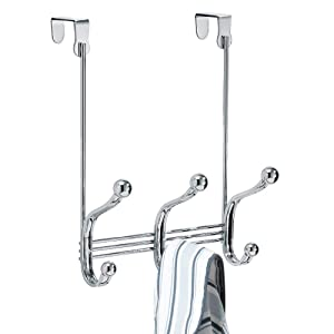 InterDesign York Lyra Over Door Storage Rack - Organizer Hooks for Coats, Hats, Robes, Clothes or Towels – 3 Dual Hooks, Chrome