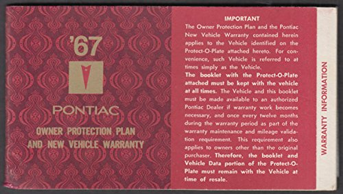 1967 Pontiac Tempest Convertible Owner's Protection Plan Warranty w/ metal - Tempest Convertible Pontiac