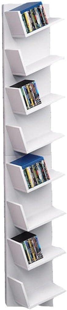 Lonlier Estantería para CD/DVD/Libros Estante de Almacenamiento con 8 Cuadrículas Blanco