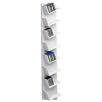 Rateim Wood Corner Floating Bookshelf 8 Tier CD Shelf DVD Display Storage Organizer Rack