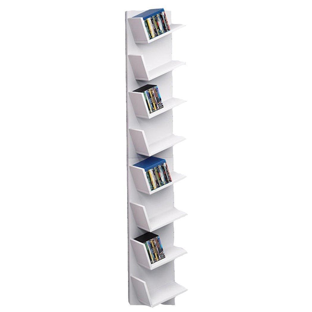 rateim Wood Corner Floating Bookshelf, 8-Tier CD Shelf DVD Display Storage Organizer Rack for CDs, Movies & Books-White (US STOCK)