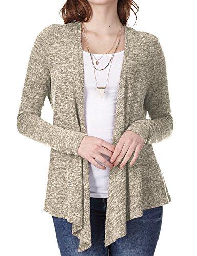 Regna X Boho for Womans Heather Oversized Ruffle Beige 2XL Plus Size Big wrap Drape Open Front Sweater Cardigans - Oversized Wrap Cardigan
