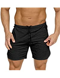Men's Gym Workout Shorts Running Short Pants Fitted Training Bodybuilding Jogger Zipper Pockets 3 Colors
