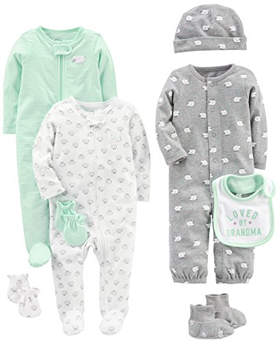 Simple Joys by Carter's Baby 8-Piece Footed Take Me Home Set, Gray, 0-3 Months (Piece Layette)