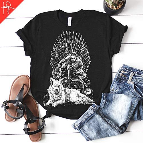 (Jon Snow in the Iron Throne Game of Thrones T-shirt GOT Tee Ghost Unisex Mens womens)