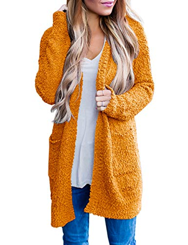 MEROKEETY Women's Long Sleeve Soft Chunky Knit Sweater Open Front Cardigan Outwear with Pockets,Bright Orange,Large