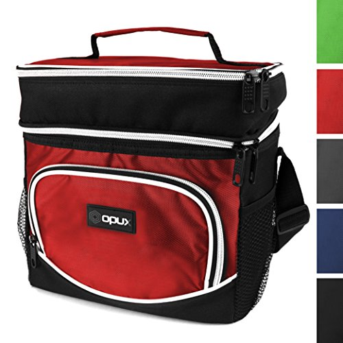 Premium Insulated Dual Compartment Lunch Bag With Shoulder Strap by OPUX | Soft Leakproof Liner, Lunch Box For Adult Men, Women, Perfect For Work, Picnics, Meal Prep (Red)