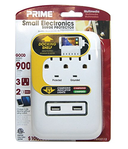 Prime Wire & Cable PB802112 3-Outlet Small Electronics Surge Protector with 2 Port USB Charger, White