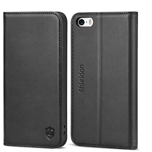 iPhone SE Case, iPhone 5S Case, SHIELDON Genuine Leather Wallet Case, Slim Flip Cover with Kickstand and ID Card Holder, Magnetic Closure Compatible with iPhone SE/iPhone 5S / iPhone 5, Black