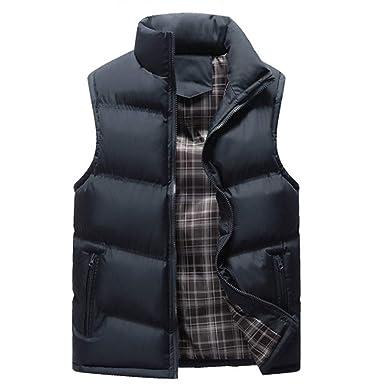 MEIbax Chaleco de Pluma y Algodón para Hombre otoño Invierno Standing-Collar Calor Chalecos Sin