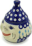 Polish Pottery Garlic Jar 7-inch (Floral Peacock)
