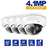Hikvision 4pcs DS-2CD2142FWD-I 4mm Lens 4MP(2688 × 1520) WDR Fixed Dome Network Camera PoE IR range 30M IP67 Waterproof English Version