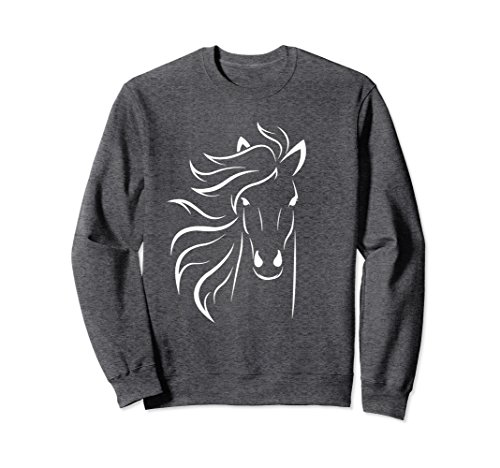 Unisex Horse Sweater for Girls Horse Lovers Gift for Ladies Small Dark Heather (Arabian Sweatshirt)