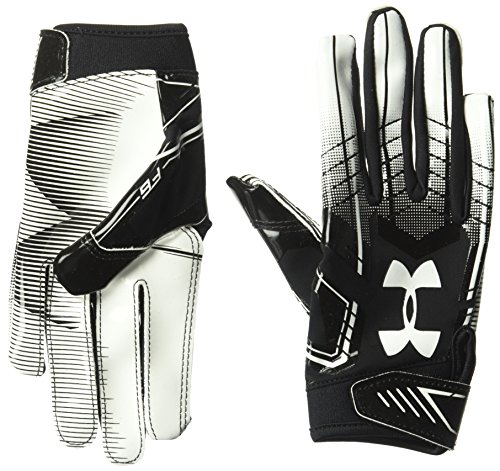 Under Armour Boys' F6 Youth Football Gloves, Black/White, Youth Medium