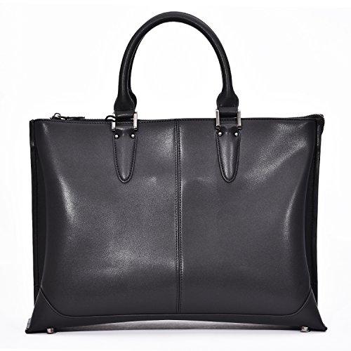 Men's Leather Satchel Briefcase Business Bag, 19'' Laptop Messenger Shoulder Bag Tote by Funime