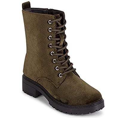 Wanted Women/'s Patrol Olive Lace-up Snake Velvet Combat Warm Lined Bootie Boot