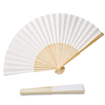 Faltbar Handfächer Fächer Papierfächer Taschenfächer Weiß für Malerei 24 Stk