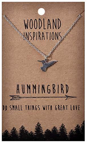 Shag Wear Woodland Nature Inspirations Quote Necklace (Hummingbird Pendant)