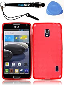 IMAGITOUCH(TM) 3-item Combo LG Optimus F6 D500 MS500 Flexible TPU Skin Case Cover Phone Protector - Red (Stylus Pen, Pry Tool, Phone Cover)
