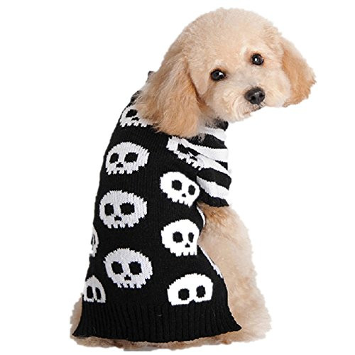 (Tangpan Pet Dog Sweater Puppy Cats Apparel Color Black Skull Size M)