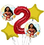 Moana Balloon Bouquet 2nd Birthday 5 pcs - Party Supplies