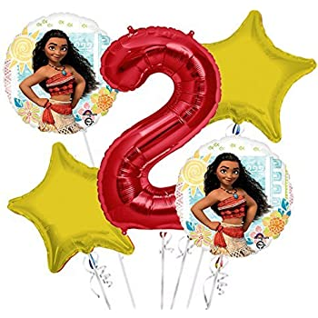 Moana Balloon Bouquet 2nd Birthday 5 Pcs